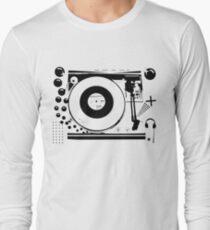 Vinyl Record Turntable Stencil Long Sleeve T-Shirt