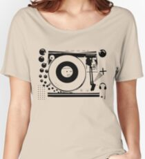 Vinyl Record Turntable Stencil Women's Relaxed Fit T-Shirt
