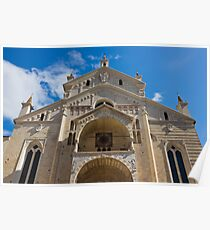Verona Cathedral facade close up shot over blue sky Poster