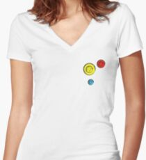 Buttons Women's Fitted V-Neck T-Shirt