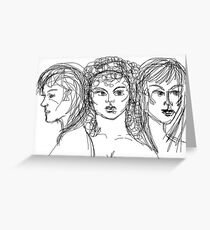 Drawing of Artemis, Aphrodite & Athena Greeting Card