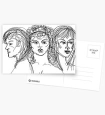 Drawing of Artemis, Aphrodite & Athena Postcards