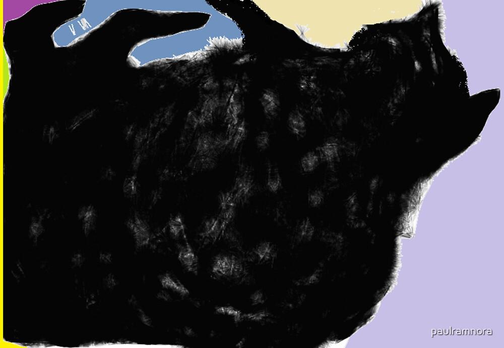 Cat, playing -(010413)- Digital art/mouse drawn. Program: Sketchy by paulramnora