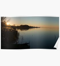 Sunset over Lago Trasemino, from Sant'arcangelo, Umbria, Italy Poster