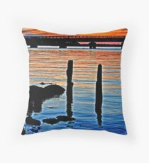 Long Beach, NY     Railroad Sunset Throw Pillow