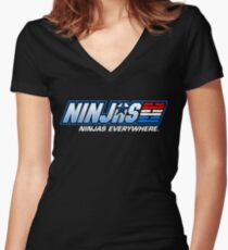 Ninjas. Ninjas EVERYWHERE. Women's Fitted V-Neck T-Shirt