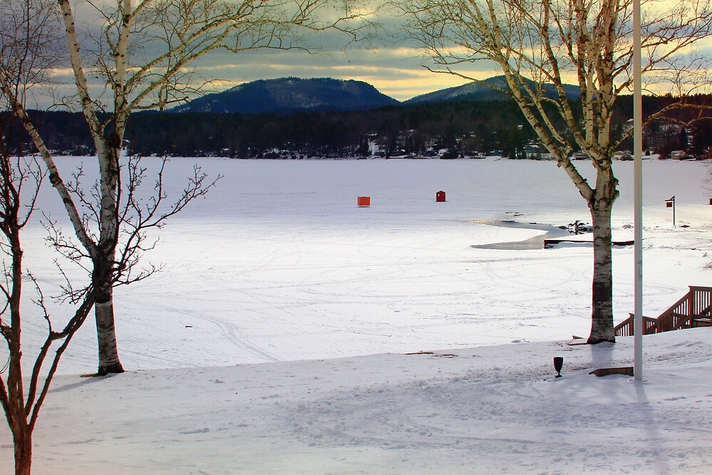 OverLooking the Lake During Ice Fishing Season by Nazareth