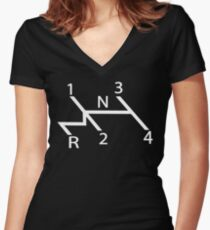 old school shift diagram in white.  Women's Fitted V-Neck T-Shirt