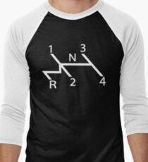 old school shift diagram in white.  Men's Baseball ¾ T-Shirt