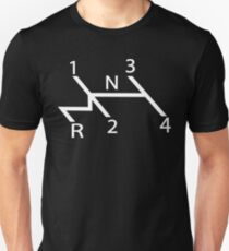 old school shift diagram in white.  Unisex T-Shirt