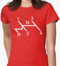 old school shift diagram in white.  Womens Fitted T-Shirt
