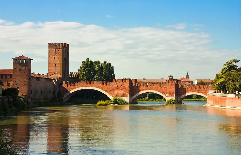 The Castelvecchio Bridge in Verona by kirilart