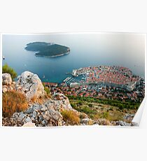 Panoramic view of the Old Town Dubrovnik and Island Lokrum Poster