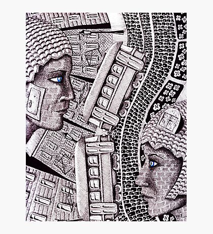 City Love surreal ink pen and colored pencils drawing Photographic Print