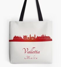 Valletta skyline in red Tote Bag