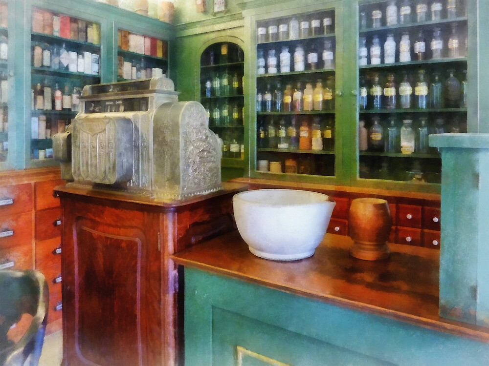 Mortar and Pestle in Pharmacy by Susan Savad