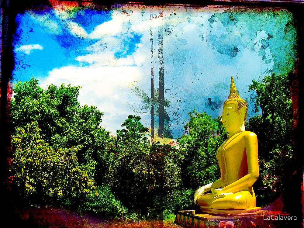 Thai Sitting Buddha  Statue in Jungle by LaCalavera