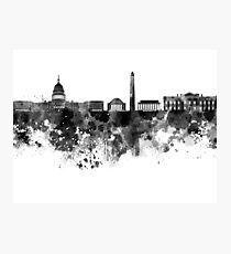 Washington DC skyline in black watercolor on white background  Photographic Print