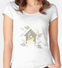 yellow birds with yellow kids Women's Fitted Scoop T-Shirt