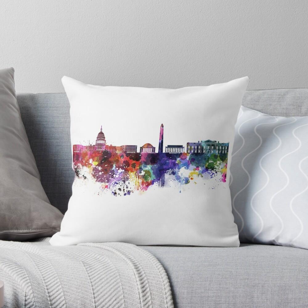Washington DC-Skyline im Aquarell auf weißem Hintergrund Dekokissen