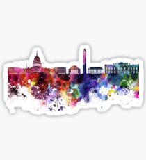 Washington DC skyline in watercolor on white background  Sticker