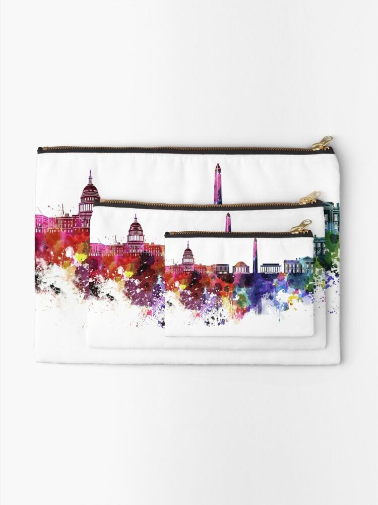 Alternative Ansicht von Washington DC-Skyline im Aquarell auf weißem Hintergrund Täschchen