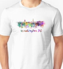 Washington DC skyline in watercolor Unisex T-Shirt