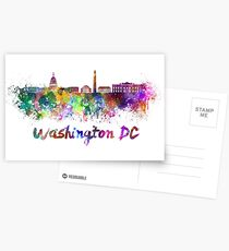 Washington DC skyline in watercolor Postcards