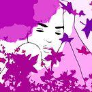 Purple and blue hearts 5 by Gunes Yilmaz