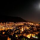 a lunar eclipse and dubrovnik below by kchamula