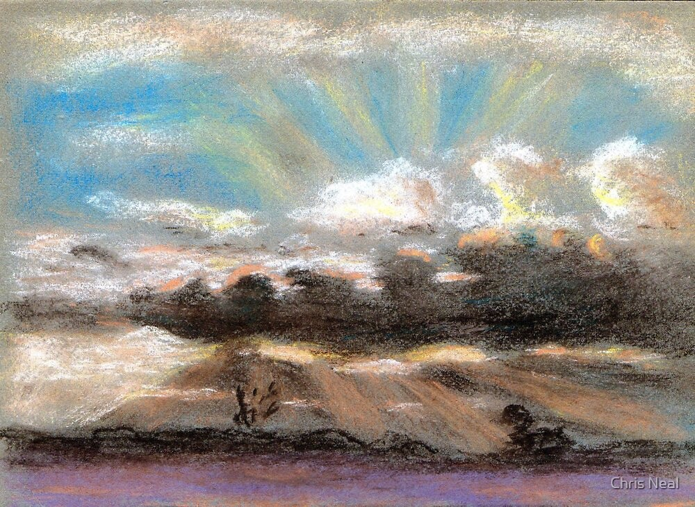 Pastel sketch of clouds by Chris Neal
