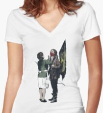 Banksy Games Women's Fitted V-Neck T-Shirt