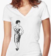 Dress Women's Fitted V-Neck T-Shirt