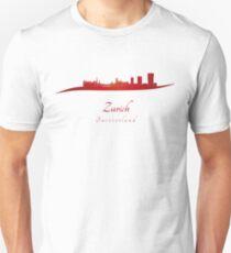 Zurich skyline in red Unisex T-Shirt
