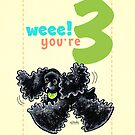 Kids Birthday Age 3 Cocker Spaniel Card by offleashart