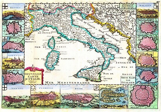 1706 de la Feuille Map of Italy Geographicus Italy lafeuille 1706 by MotionAge Media