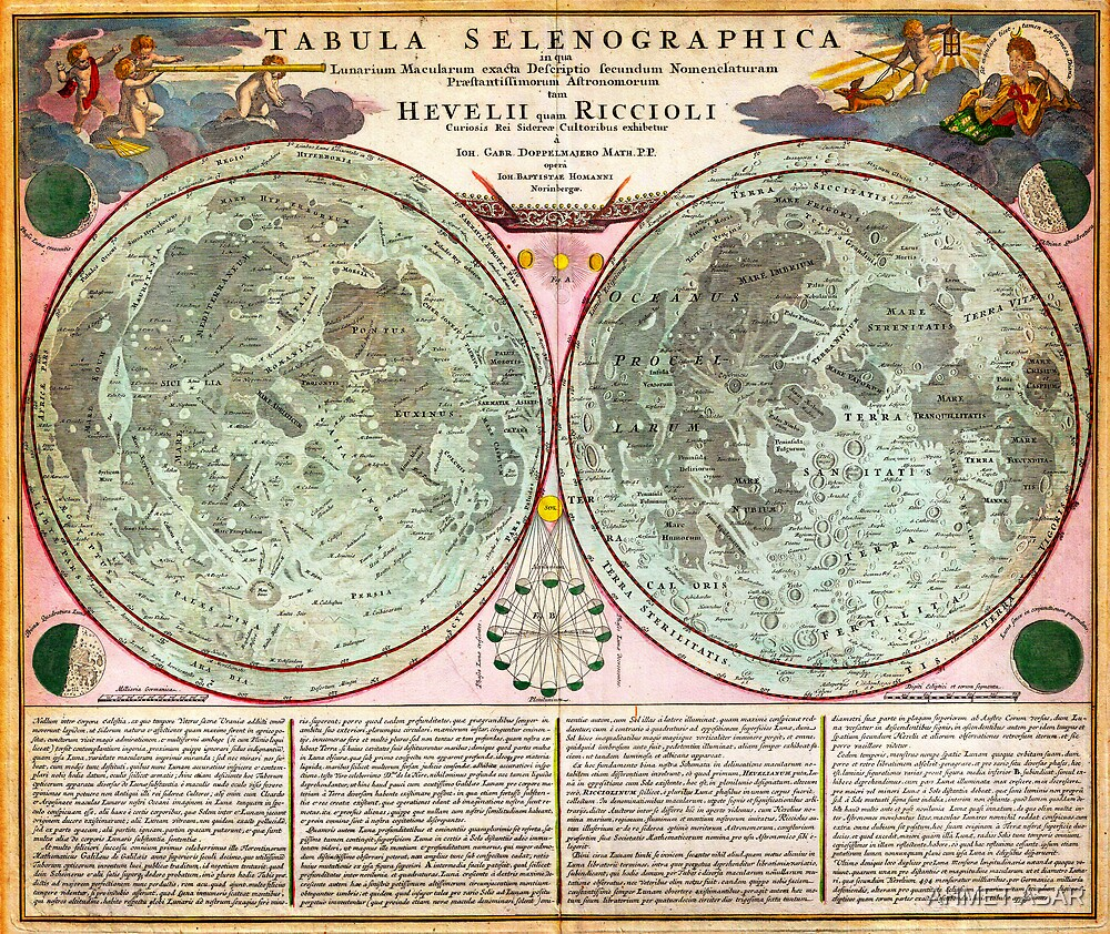 1707 Homann and Doppelmayr Map of the Moon Geographicus TabulaSelenographicaMoon doppelmayr 1707 by MotionAge Media