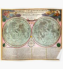 1707 Homann and Doppelmayr Map of the Moon Geographicus TabulaSelenographicaMoon doppelmayr 1707 Poster