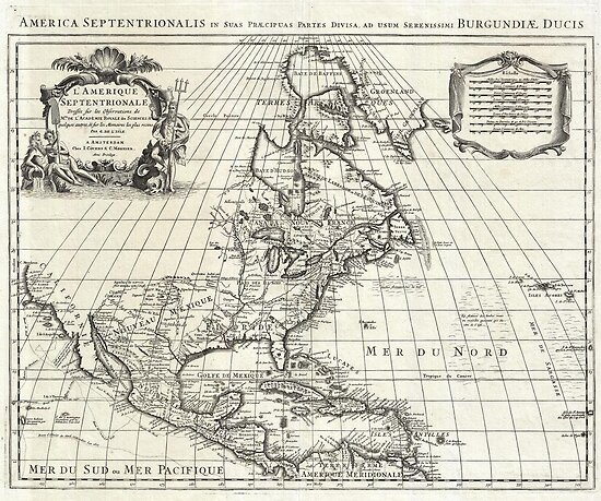 1708 De L'Isle Map of North America Covens and Mortier ed Geographicus AmeriqueSeptentrionale covensmortier 1708 by MotionAge Media
