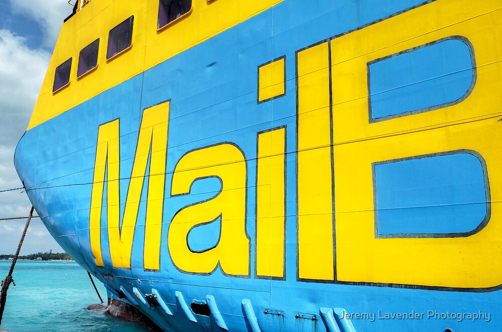 """National Bahamian Colours for the Cargo Boat """"Fiesta Mail"""" in Nassau, The Bahamas by Jeremy Lavender Photography"""