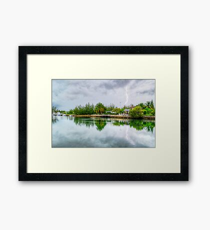Lightning over the canal at Coral Harbour - Nassau, The Bahamas Framed Print