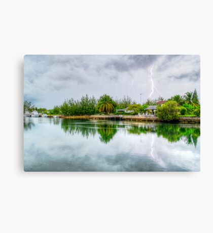 Lightning over the canal at Coral Harbour - Nassau, The Bahamas Canvas Print