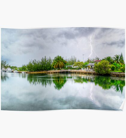 Lightning over the canal at Coral Harbour - Nassau, The Bahamas Poster