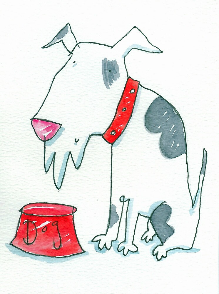 Dog with Red Bowl  by AndyLanhamArt