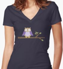Spring Owl Fitted V-Neck T-Shirt