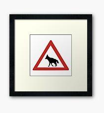 Caution Hyenas I, Traffic Warning Sign, Namibia Framed Print