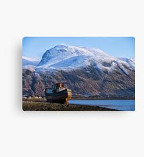 Ben Nevis and Old Fishing Boat Canvas Print