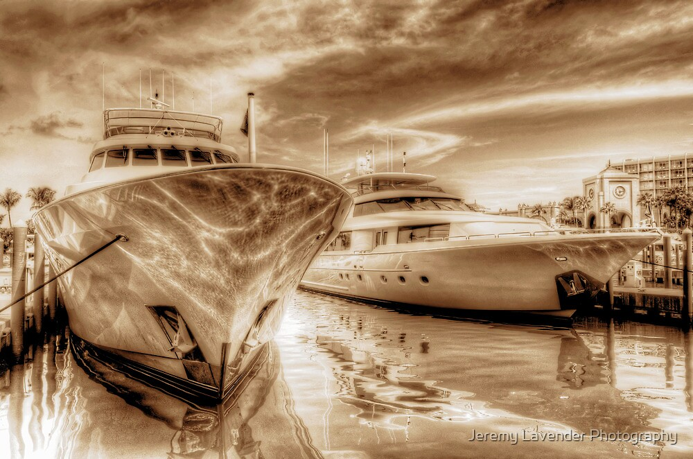Yachts docked at the Atlantis Marina in Paradise Island, The Bahamas by Jeremy Lavender Photography