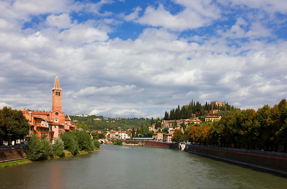 Verona Adige River view Toward Castel San Pietro by kirilart