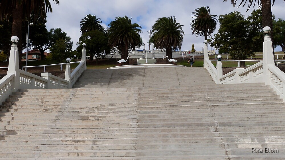 Steps leading to an inviting Fountain, Waterfront 'Geelong' Vic. by Rita Blom